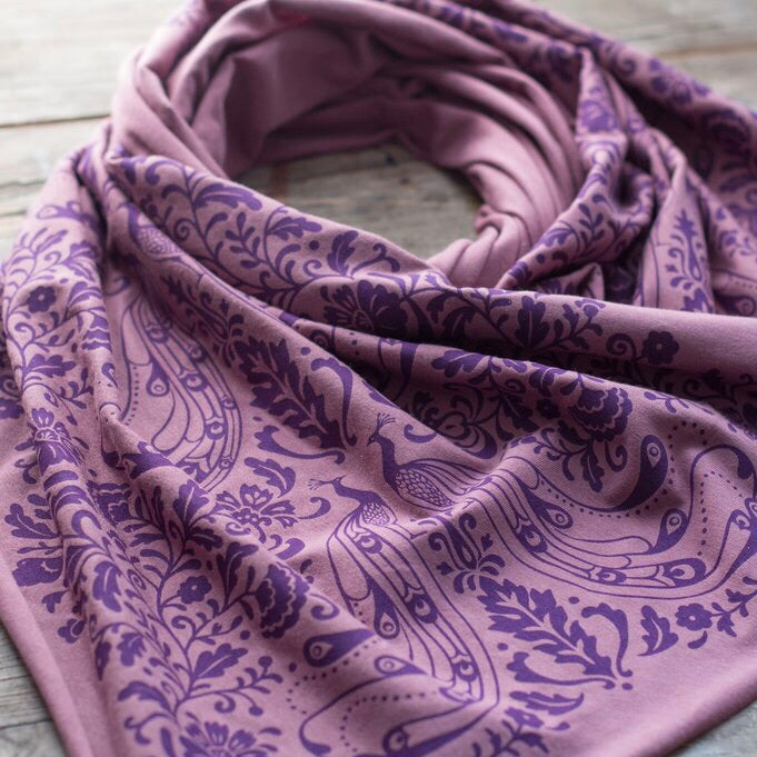 hand-printed scarf with art nouveau peacock pattern, handmade in Maine by Morris and Essex