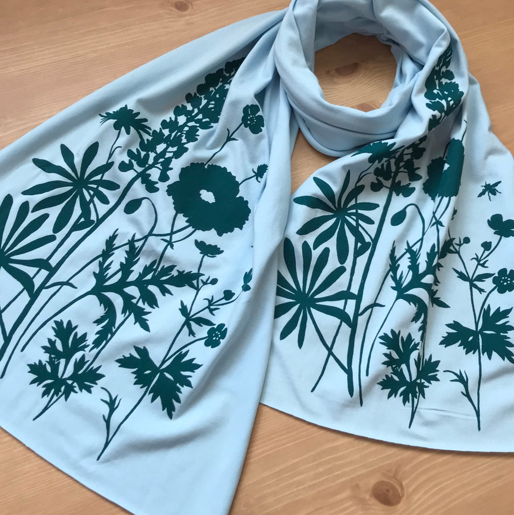 Wholesale - Hand-Printed Scarf - Wildflowers Pattern - MES-0048