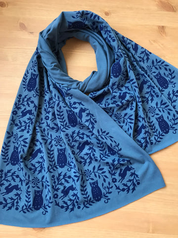 Hand-Printed Owl Scarf in Teal Blue