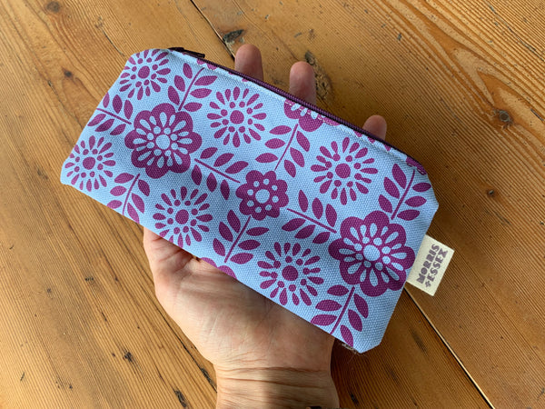 Hand-printed organic cotton canvas zipper pouch, blue Barcelona tile pattern