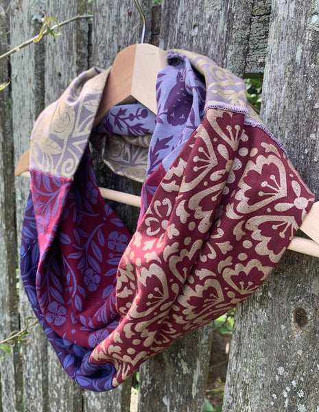Sustainable Collection: Hand-Printed, Recycled Infinity Scarf with Sashiko embroidery - Shades of Plum and Gold Pattern Scarf