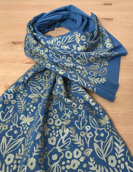 Wholesale - Teal Watercolor Pattern Scarf - Hand-Printed Scarf - MES-039