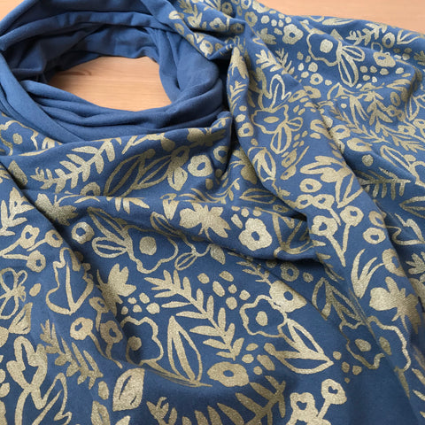 Wholesale - Teal Watercolor Pattern Scarf - Hand-Printed Scarf - MES-0039