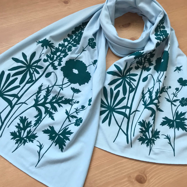Hand-Printed Scarf - Wildflowers Pattern - Handmade Scarf - Eco-Friendly Bamboo Scarf