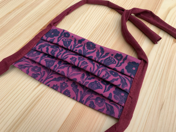 Plum Hand-printed cotton mask - washable, reusable, with filter pocket