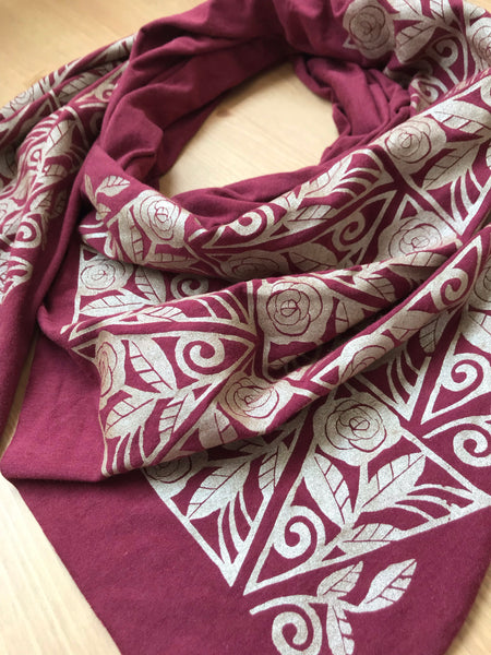 Hand-Printed Scarf - Maroon and Gold Roses Pattern Handmade Scarf - Eco-Friendly Scarf
