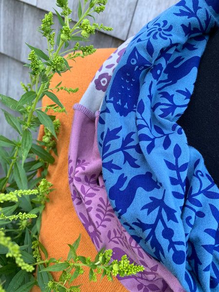 Hand-Printed Infinity Scarf - Purple, Blue & Grey