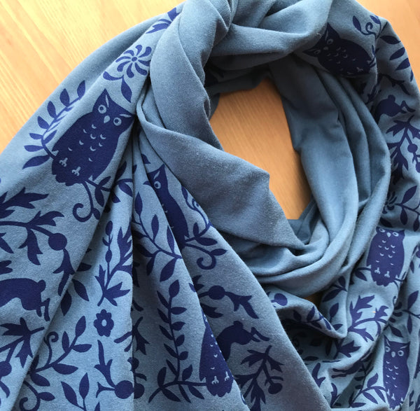 Hand-Printed Scarf - Teal Blue Owl Pattern Handmade Scarf - Eco-Friendly Bamboo Scarf