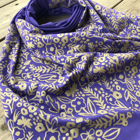hand-printed scarf with gold watercolor flower pattern, handmade in Maine by Morris and Essex