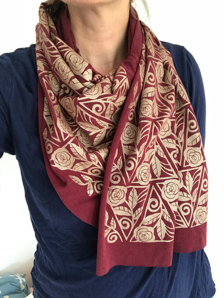 Wholesale - Hand-Printed Gold Roses Scarf. MES-042