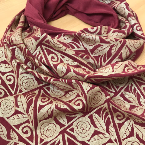 Wholesale - Hand-Printed Gold Roses Scarf. MES-0042