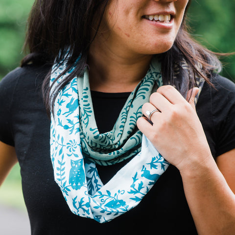 Hand-Printed Infinity Scarf - Ferns & Owls