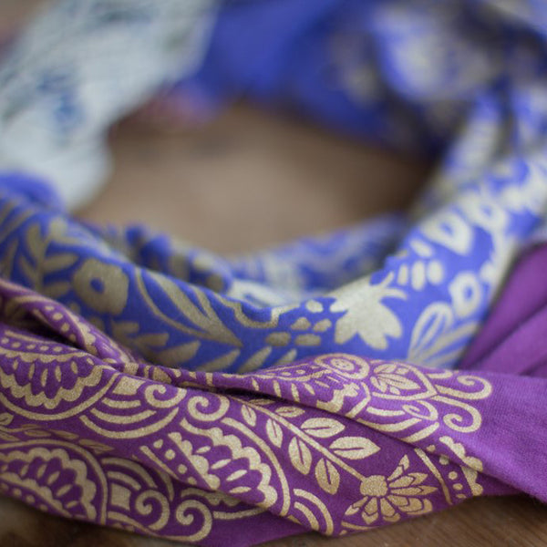 Hand-Printed Infinity Scarf - Purple, Pink & Grey