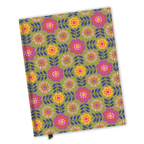 Blank Lined Journal - Barcelona Flowers Pattern
