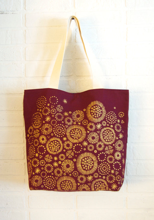 hand printed, fully lined organic cotton canvas tote bag
