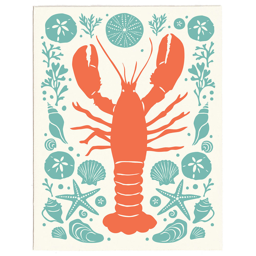 Lobster letterpress greeting card, blank inside