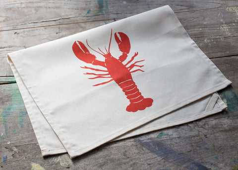 Hand-Printed Lobster Tea Towel with hanging loop