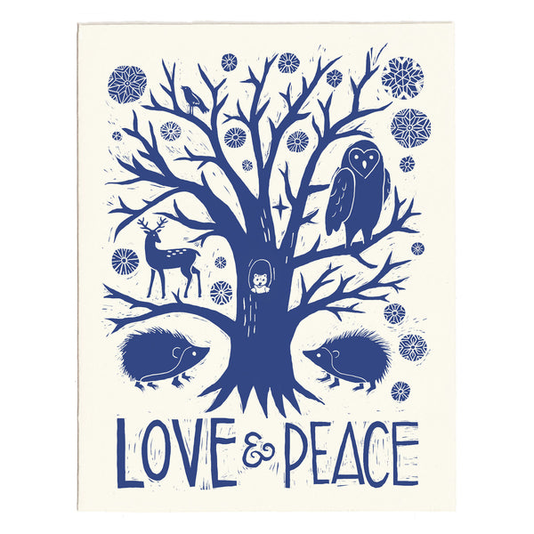 Letterpress Holiday Card, Love & Peace woodland animals Christmas card, made in Maine by Morris & Essex