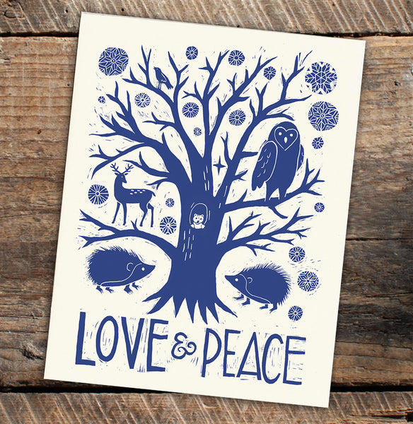 Wholesale - Letterpress Greeting Card - Love & Peace - Blank Inside