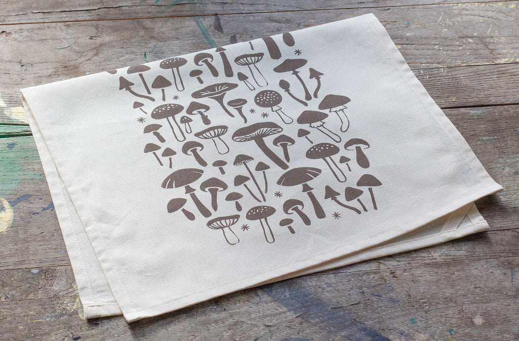 Hand-Printed Mushrooms Tea Towel with hanging loop