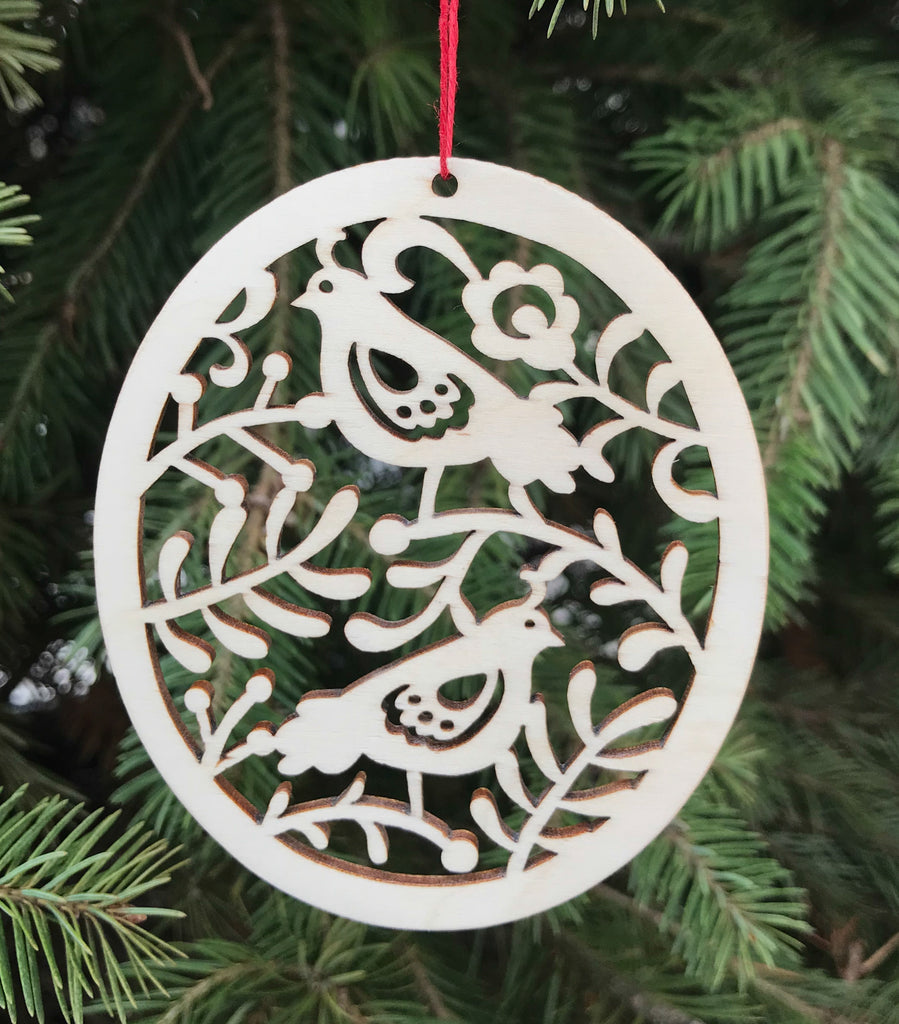 Natural Wood Christmas Ornament - Partridge Design