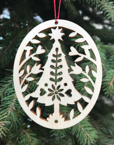 Natural Wood Christmas Ornament - Folk Art Tree Design