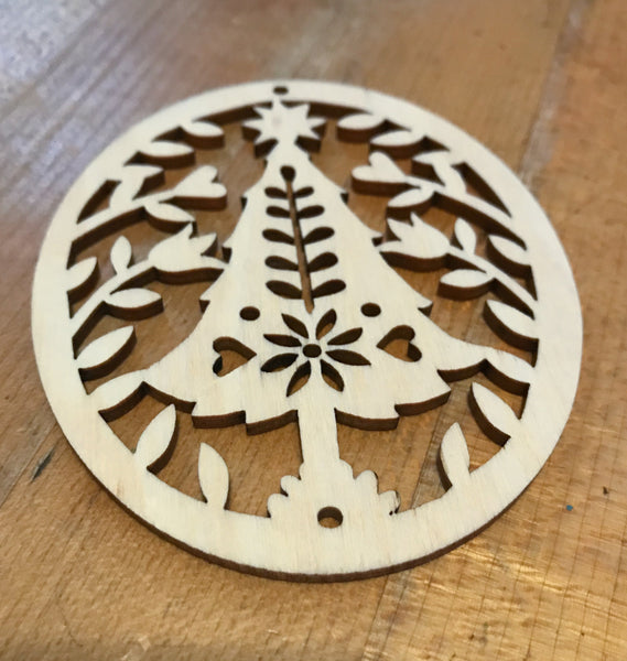 Natural Wood Christmas Ornaments - Set of Two