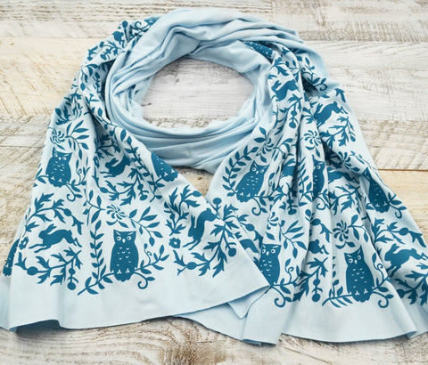 Wholesale - Light blue bamboo scarf with hand-printed blue Owls pattern