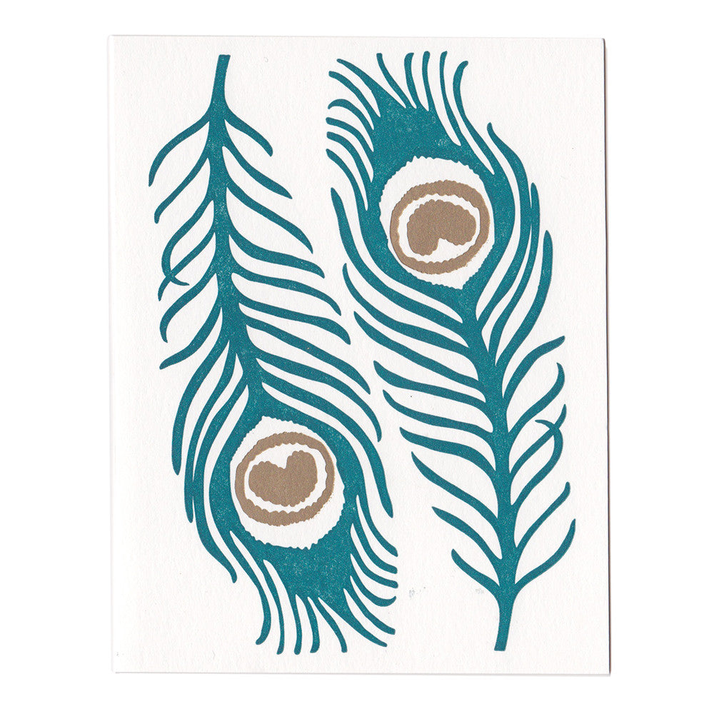 Peacock Feathers greeting card, blank inside
