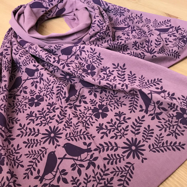 Hand-Printed Scarf - Purple Birdwatching Pattern - Handmade Scarf - Sustainable Bamboo Scarf