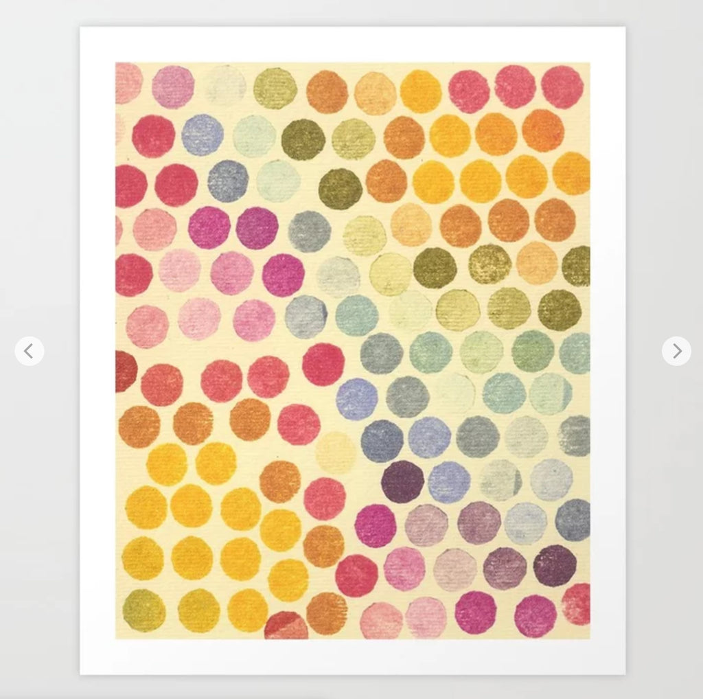 Rainbow Stamp Dots - Art Print