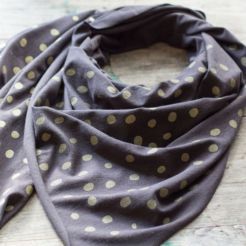 Soft charcoal gray bamboo scarf with hand-printed Raindrops pattern