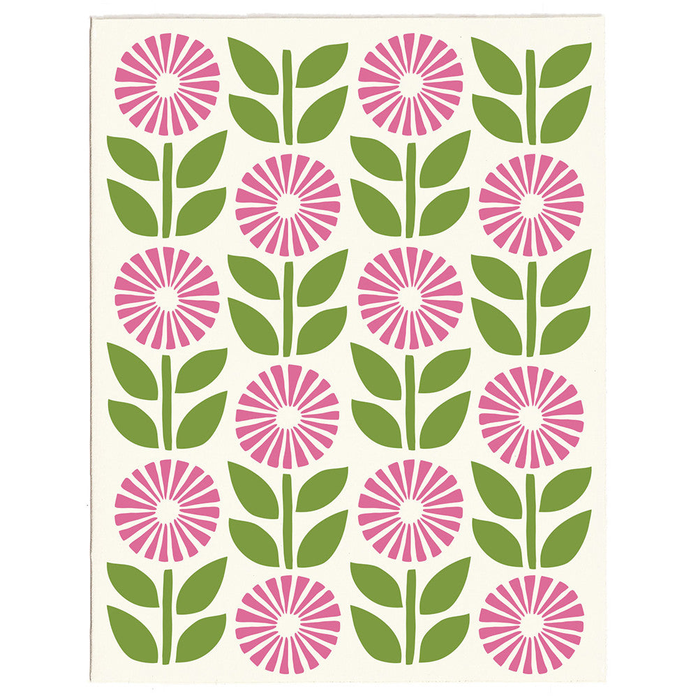 Wholesale - Bright Scandi Flowers greeting card, blank inside