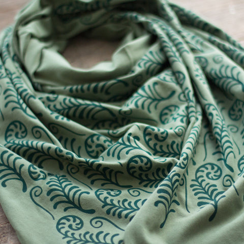 hand-printed scarf with green fiddlehead ferns pattern, handmade in Maine by Morris and Essex