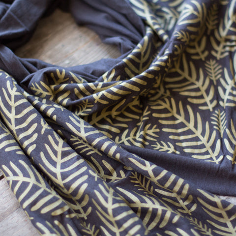 Wholesale - MES-012 - Charcoal grey bamboo scarf with hand-printed gold Tropical Leaves pattern