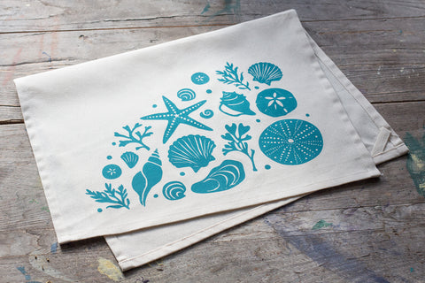 SOLD OUT  - Wholesale - MEP-0027 Hand-Printed Seashells Tea Towel with hanging loop
