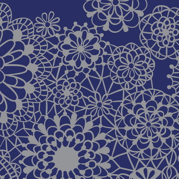 Wholesale - Royal blue bamboo scarf with silver lacy pattern