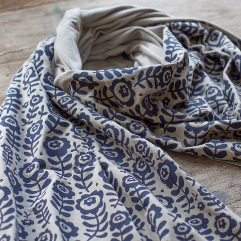 Soft gray bamboo scarf with hand-printed Sketchbook Flowers pattern