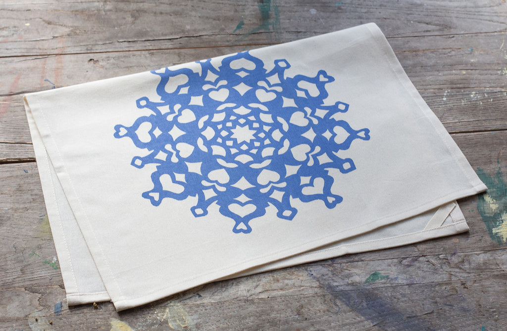 SOLD OUT - Hand-Printed Snowflake Cotton Tea Towel with hanging loop