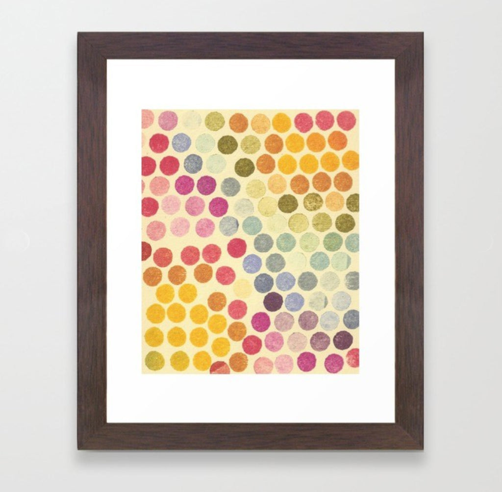 Rainbow Stamp Dots - Framed Print