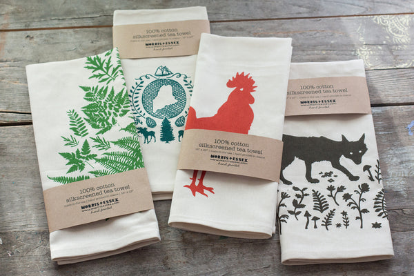 Wholesale - MEP-0011 - Hand-Printed Rooster Cotton Tea Towel with hanging loop