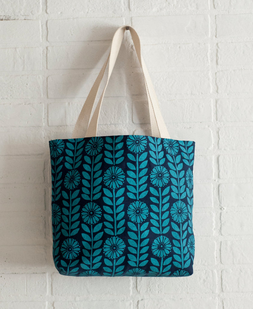 Hand printed Blue Flowers organic cotton canvas tote bag - Large, fully lined