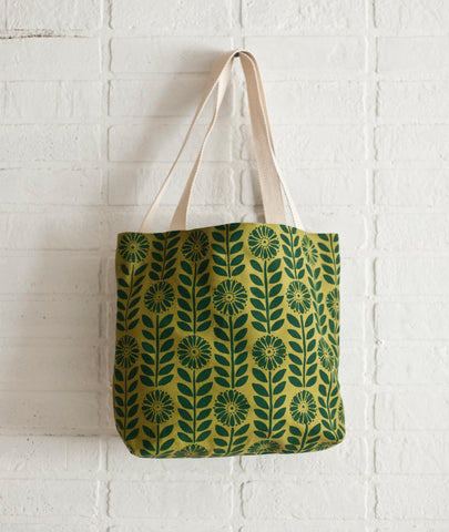 Hand printed Green Flowers organic cotton canvas tote bag