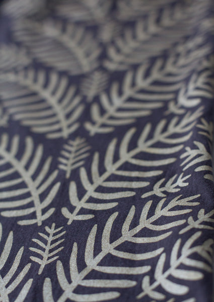 Hand-Printed Scarf- Charcoal Grey and Gold Tropical Leaf Pattern Handmade Scarf - Eco-Friendly Scarf