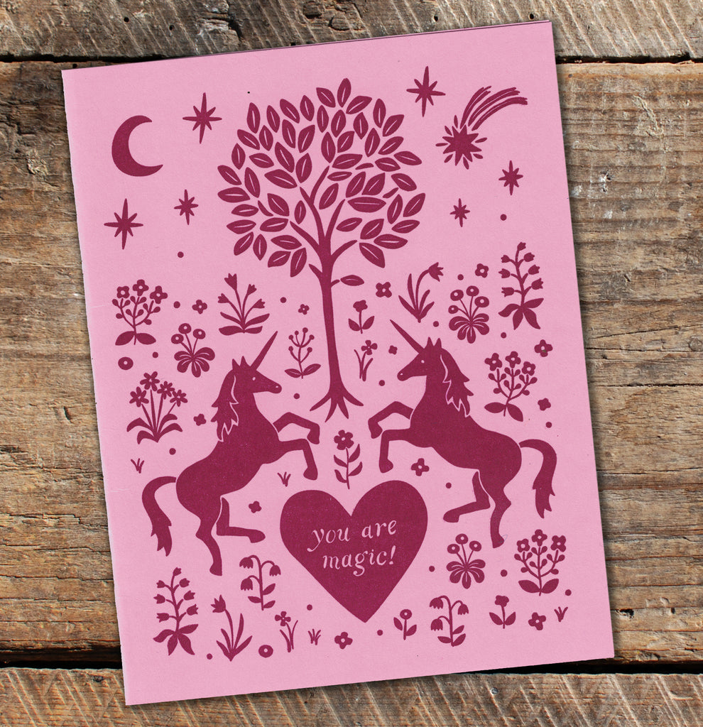 Letterpress Greeting Card - Unicorn Valentine - Blank Inside