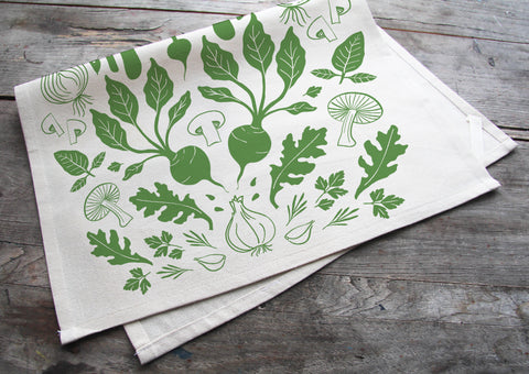 Hand-Printed Veggies Tea Towel with hanging loop