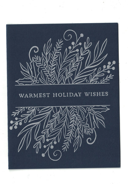 Letterpress Holiday Card - Warmest Wishes - Blank Inside