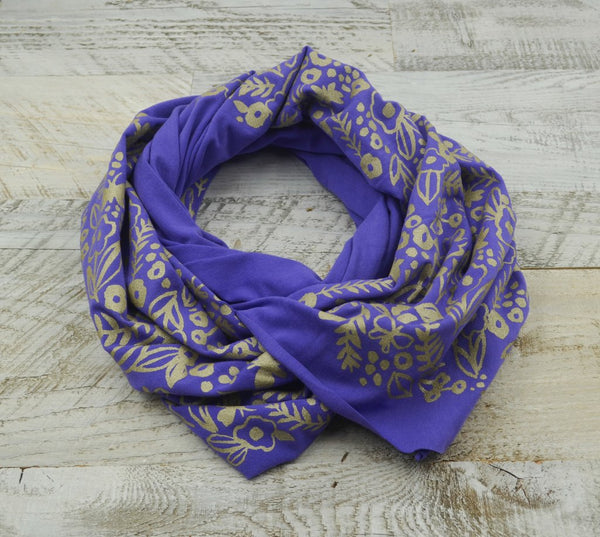 Wholesale - Violet bamboo scarf with hand-printed gold Watercolor pattern - MES-039