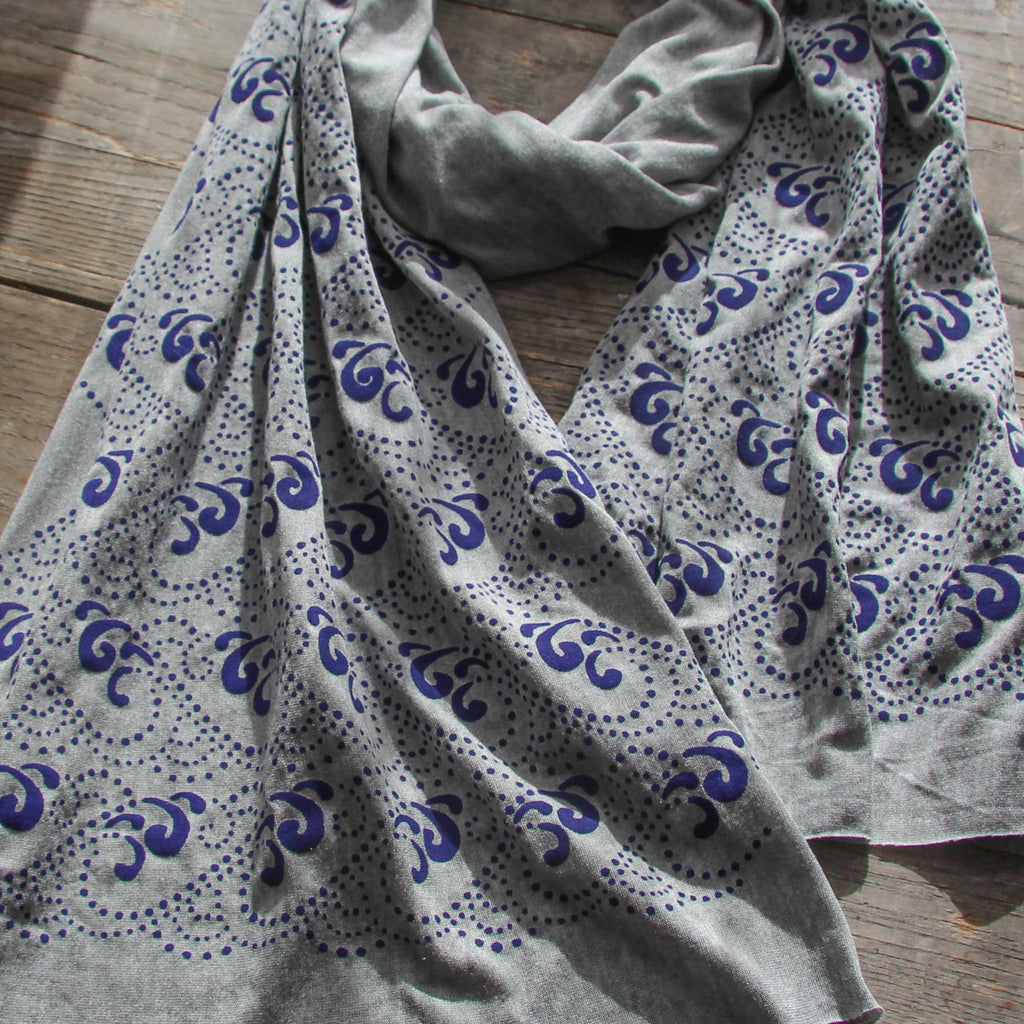 hand-printed scarf, gray scarf with blue waves pattern, handmade in Maine by Morris and Essex
