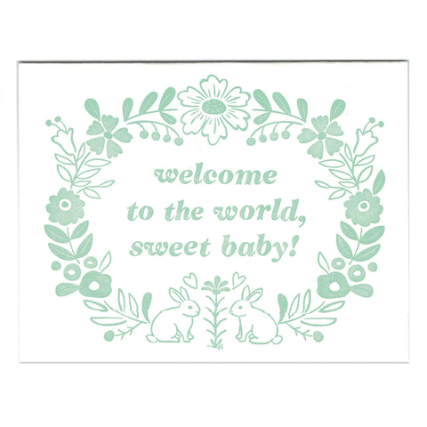 Wholesale - Welcome Baby letterpress greeting card, blank inside - MEGC-0158/MEGC-0159